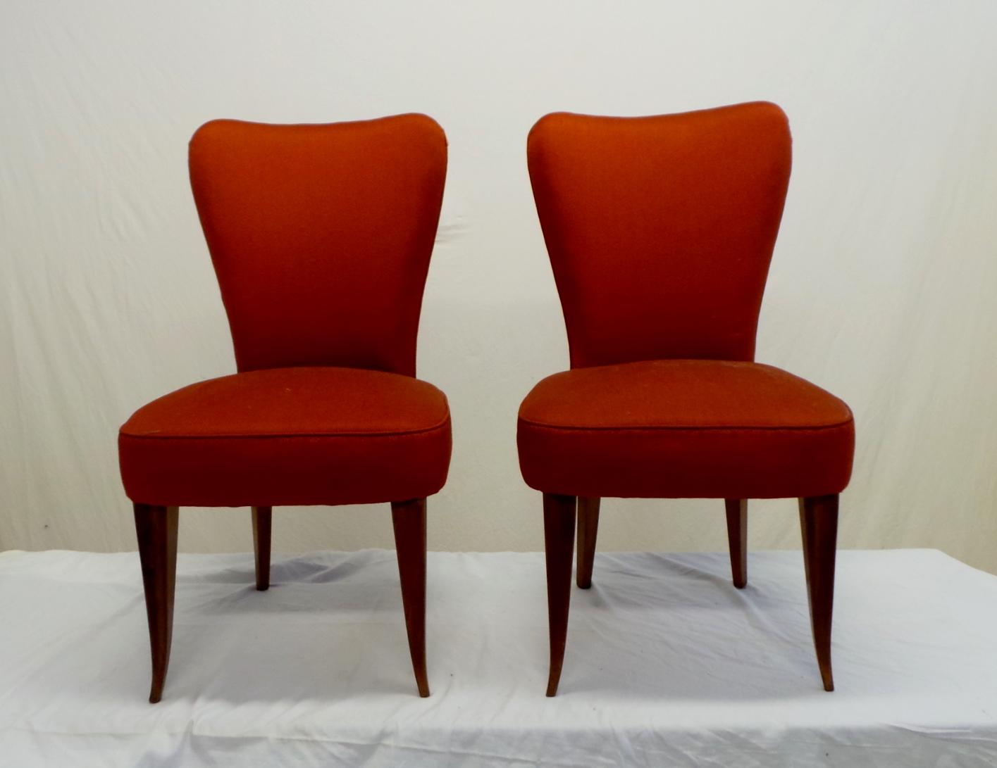 Coppia di sedie imbottite anni 50 stile paolo buffa fronte - Sedie design anni 50 ...
