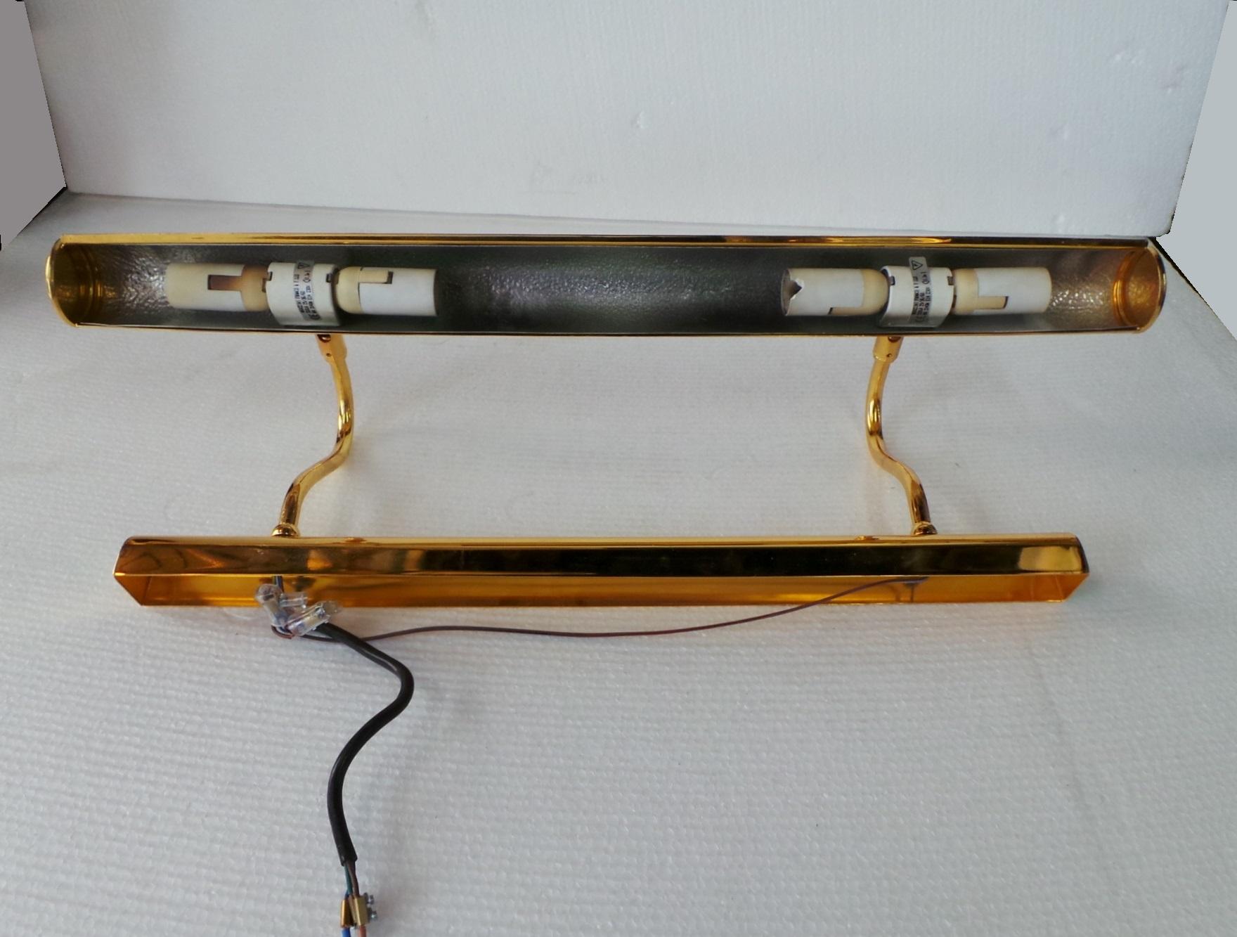 Lampada applique quadro dorata lampadine e sotto